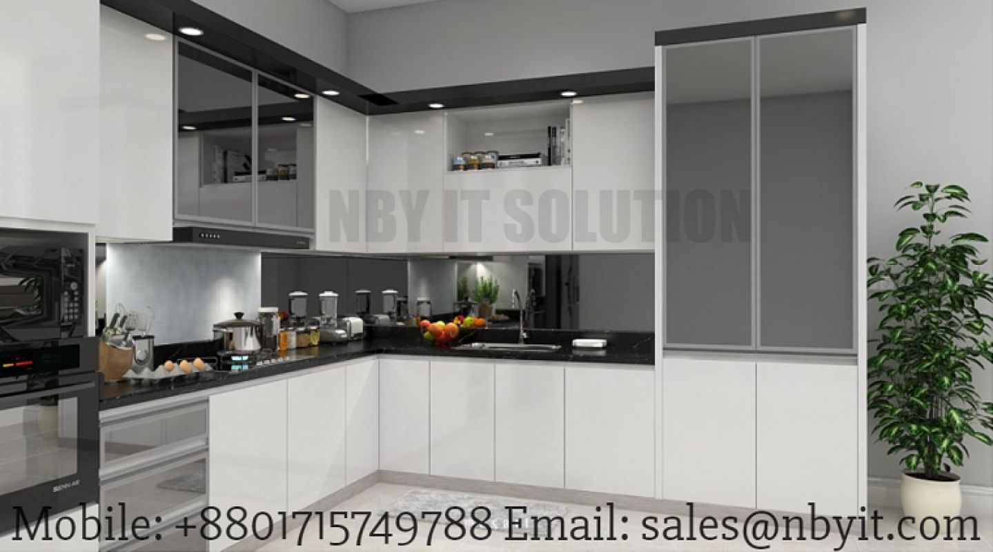 Https://www.nbyit.com/3d Interior Modeling/Kitchen 3D Interior Modeling  Visualization And Space Design. The Kitchen Design Of A Small Room Is A  Very ...